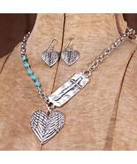 "18"" Silver Heart /Cross Necklace set / Nice - $32.71"