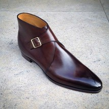 Handmade Men's Brown Monk Strap High Ankle Leather shoes image 3