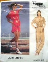 Vogue Pattern 1349 Size 8 Ralph Lauren Misses' & Misses' Petite Jumpsuit UNCUT - $8.50