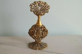 FILIGREE PERFUME BOTTLE Antique Ormolu Gold Gilt GLASS DAUBER Scent CHAMBER - $24.99