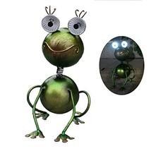 GDF Solar Garden Lights Outdoor Decorative Metal Large Mouth Frog LED Li... - $28.48
