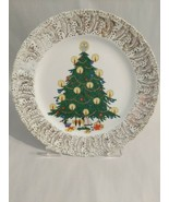 Vintage Decorative Christmas Tree Plate HOLIDAY TIME Warranted 22 Kt. Go... - $24.26