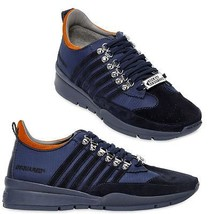 $440 DSQUARED2 STRIPED NYLON & SUEDE SNEAKERS Sneaker Active Shoes 40 Eu... - $273.00