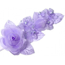 "1 pc lavender Silk Pearl & organza flower  Corsages 5""x 2.5 with pearl pin - $2.96"