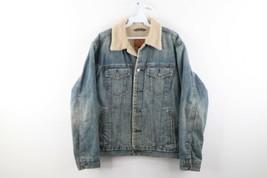 Vintage GAP Streetwear Mens Medium Deep Pile Fleece Lined Denim Trucker Jacket - $78.16