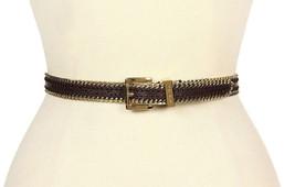 Michael Kors Chocolate Brown Leather Chain Trim Slim Belt Small 554248 - $39.11