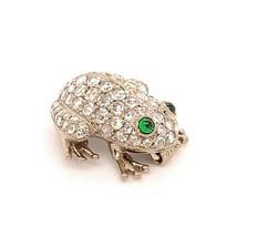 18k Gold Frog Pin Brooch 1.26ct TW Rose Cut Genuine Natural Diamonds (#J... - $3,217.50