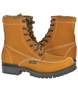 Mens Moc Toe Lace Up Work Boots Light Brown Real Leather Durable Non Sli... - $54.99