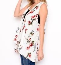 Ivory Floral Vest, Lightweight Layering Vest, Floral Layering Vest, Floral Vest image 5