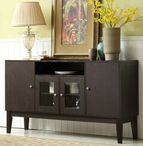 "Brown Wood Sideboard Buffet Cabinet 60"" Wide 250 lbs Capacity Media TV S... - $395.99"
