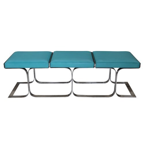 AQUA LEATHER and STAINLESS STEEL BASE AIRLINE BENCH, Mid Century Modern, NEW!