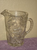 Vintage 2 Quart Clear Pressed Glass Pitcher with Starbursts & Ribbed Handle - $9.46