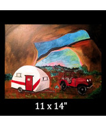 Jeep and Tow Acrylic Painting - $35.00
