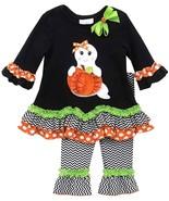 Rare Editions HALLOWEEN Black Knit Top Ghost Pumpkin Applique Pants Set ... - $34.95