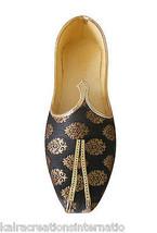 Men Shoes Indian Handmade Loafers Mojaries Wedding Groom Jutties Black US 7 - $39.99