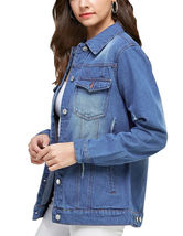 Women's Classic Casual Cotton Lightweight Distressed Denim Button Up Jean Jacket image 8