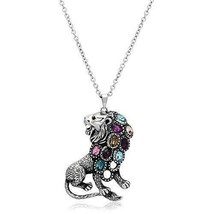 Women's Stainless Steel High polished Multicolor Lion Pendant - $46.25