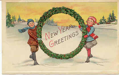 New Year Greetings Vintage Post Card
