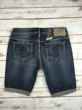 Silver J EAN S Shorts Buckle Mid Rise Aiko Jean Stretch Denim Cuffed Short 28 - $24.97