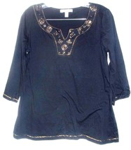 Lena Black Top with Gold Neckline Studs and 3/4 Sleeves Sz M - $25.64