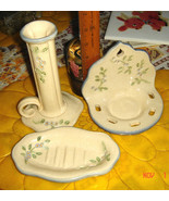 VTG COUNTRY COTTAGE FLORAL WALL CUP CANDLE HOLDER VASE SOAP DISH POTTERY... - $267.99