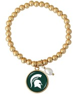 Michigan State Spartans Diana Gold and Pearl Stretch Bead Bracelet Jewel... - $16.82