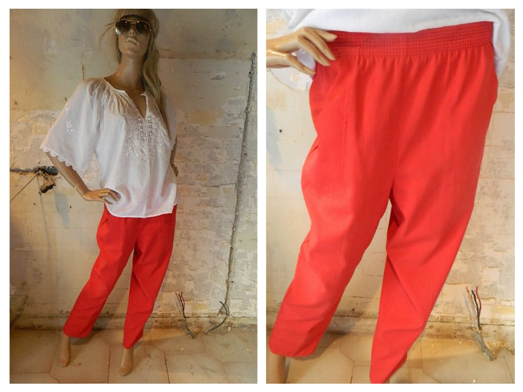 Vintage Red Elastic waist straight pant Size S-M 70's - 80's look