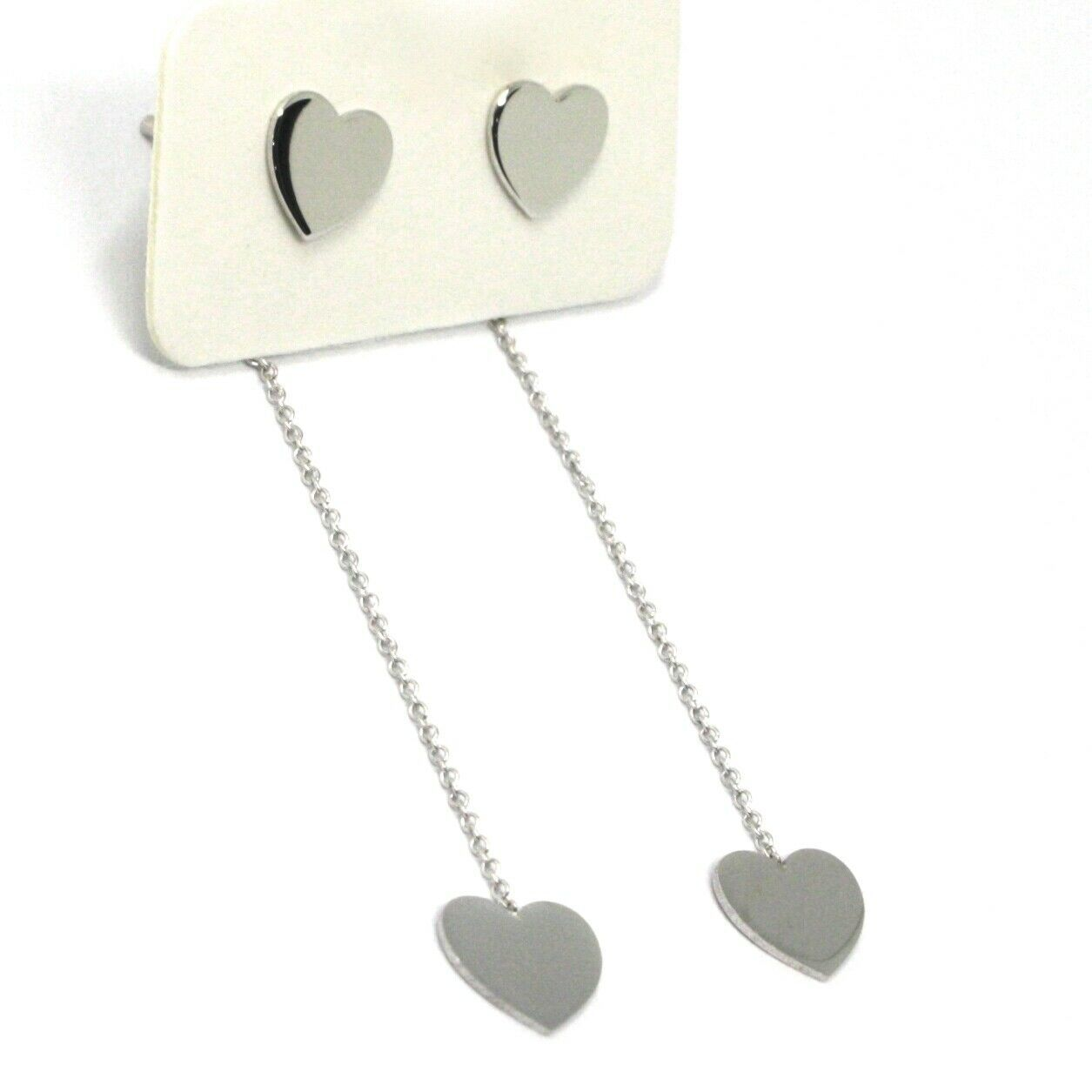 18K WHITE GOLD PENDANT EARRINGS FLAT DOUBLE HEART, SHINY, SMOOTH, ROLO CHAIN