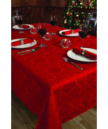 Christmas Holiday Red Damask Poinsettia Diamond Table Cloth 60 x120 - $65.99