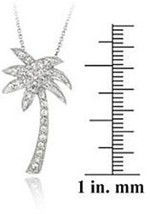 ICZ Stonez Sterling Silver Cubic Zirconia Palm Tree Pendant Necklace New - $27.94