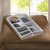 Photo Frame Tray Wooden and Glass Holds 7 Pictures - $49.95