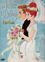 VINTAGE UNCUT 1961 JULIE'S WEDDING PAPER DOLLS~#1 REPRODUCTION~PRETTY BR... - $18.75
