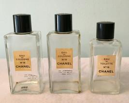 Vtg Lot of 3 Paris CHANEL #19 Eau de Cologne Toilette EMPTY Glass Perfume Bottle - $29.99