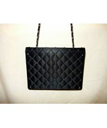 Black Silk Quilt w/Gold Beads- heavy Gold Chain strap Vintage shoulder Bag - $10.00