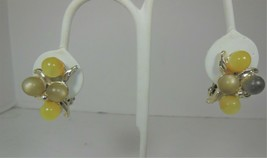 Yellow & Green Lucite Moonglow Clip On Earrings - $10.88