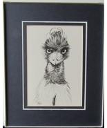 Emu, Framed Matted Wildlife Art Print, Pen and Ink, Bird Art Drawing, 8 ... - $30.00