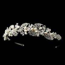 Silver Freshwater Ivory Pearl & Rhinestone Vine Leaf Bridal Headband Tiara - $80.70