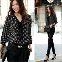 2015 Summer Fashion Women Sweety Long Sleeve Chiffon Bowknot Shirt Hot Sale Casu
