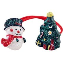 Set of 5 Cute Christmas Tree And Snowman Hair Rope Ponytail Holders