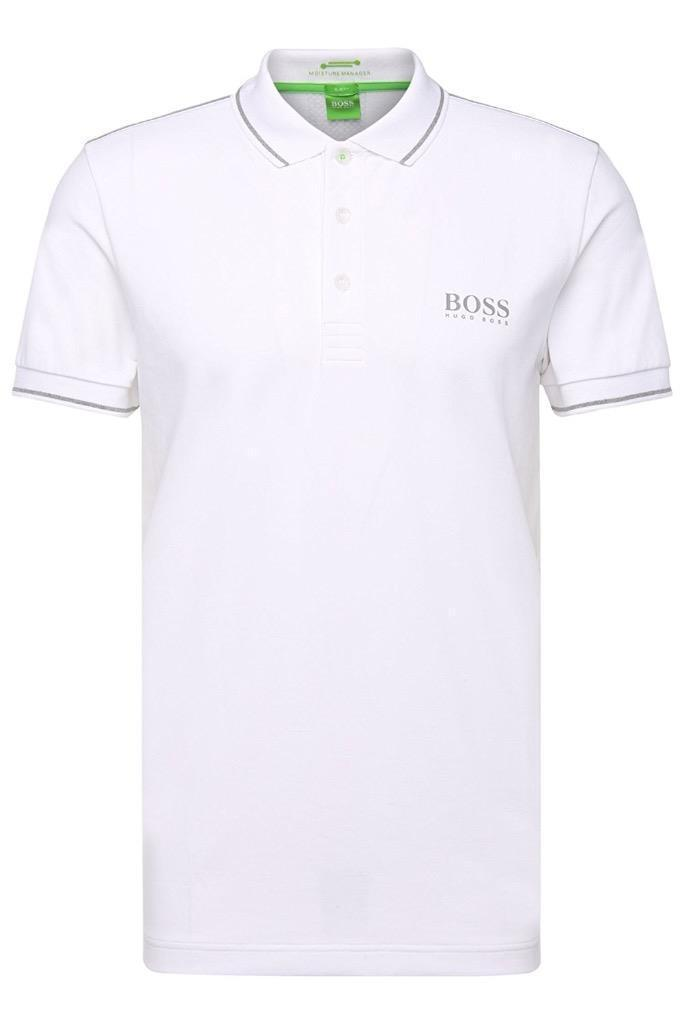 Hugo Boss Men Slim Fit Paule Pro Stretch Polo Shirt T-Shirt White 50310307