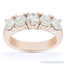 Round Cut Forever Brilliant Moissanite 14k Rose Gold 5-Stone Band Wedding Ring - $551.20+