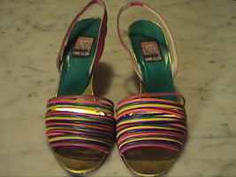 """Anne Kein Multi Color Leather Open Toe 3 1/4"""" Slingback High Heels   SIZE   6.5M - $25.00"""