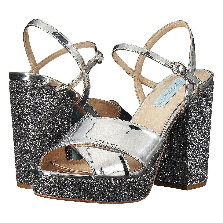 Betsey Johnson Ollie Silver Mirror Glitter Ankle Strap Platform Sandals 8 NIB - $73.76