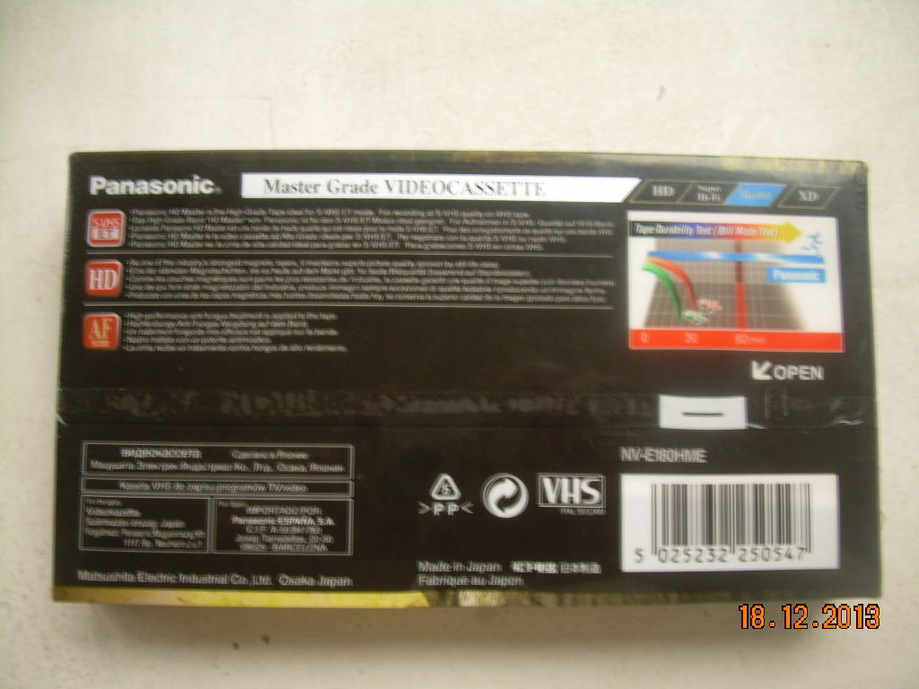 NOS Panasonic VHS Tapes Extra High Durability Sealed E-180 Master HD image 3