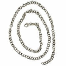 SOLID 18K WHITE GOLD CHAIN 17.70 IN, ROUND CIRCLE ROLO LINK, 4 MM MADE IN ITALY image 2