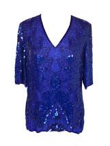 60s Vintage Frank Usher Lapis Lazili Universe Sequin Beaded Tunic Top Bl... - $43.00