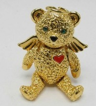 Vintage 1996 Batya Articulated Bear Angel Pin Red Heart Brooch Pendant V... - $24.99