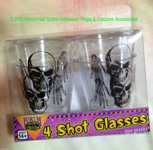 Gothic Skeleton SKULL SHOT GLASSES Drink Bar Halloween Prop Decorations-... - $4.92