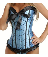 Cute Blue Satin Corset with Black Polka Dots an... - $31.99