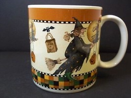 Debbie Mumm HALLOWEEN coffee mug Flying Witch Sakura Stoneware 1998 12 oz - $8.56